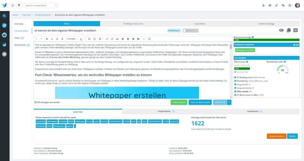 Contentbird unterstützt Redakteure mit SEO Tipps bei der Content Erstellung und Distribution.