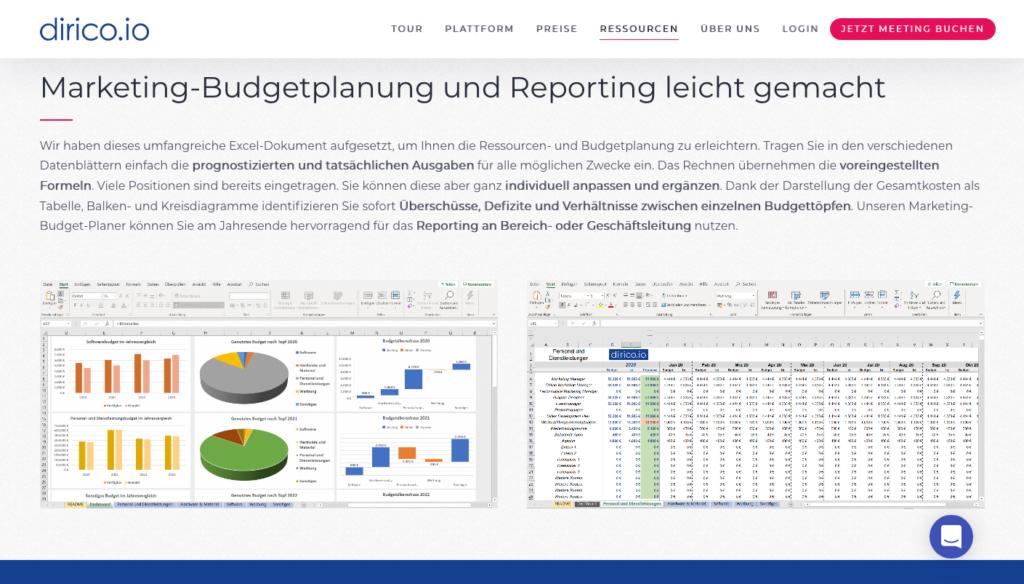 Screenshot des Excel-Tools zur Planung des Marketingbudgets von dirico.io