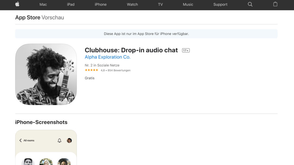 Clubhouse im Apple App-Store: Dank Influencer Marketing Platzierung in den App-Charts