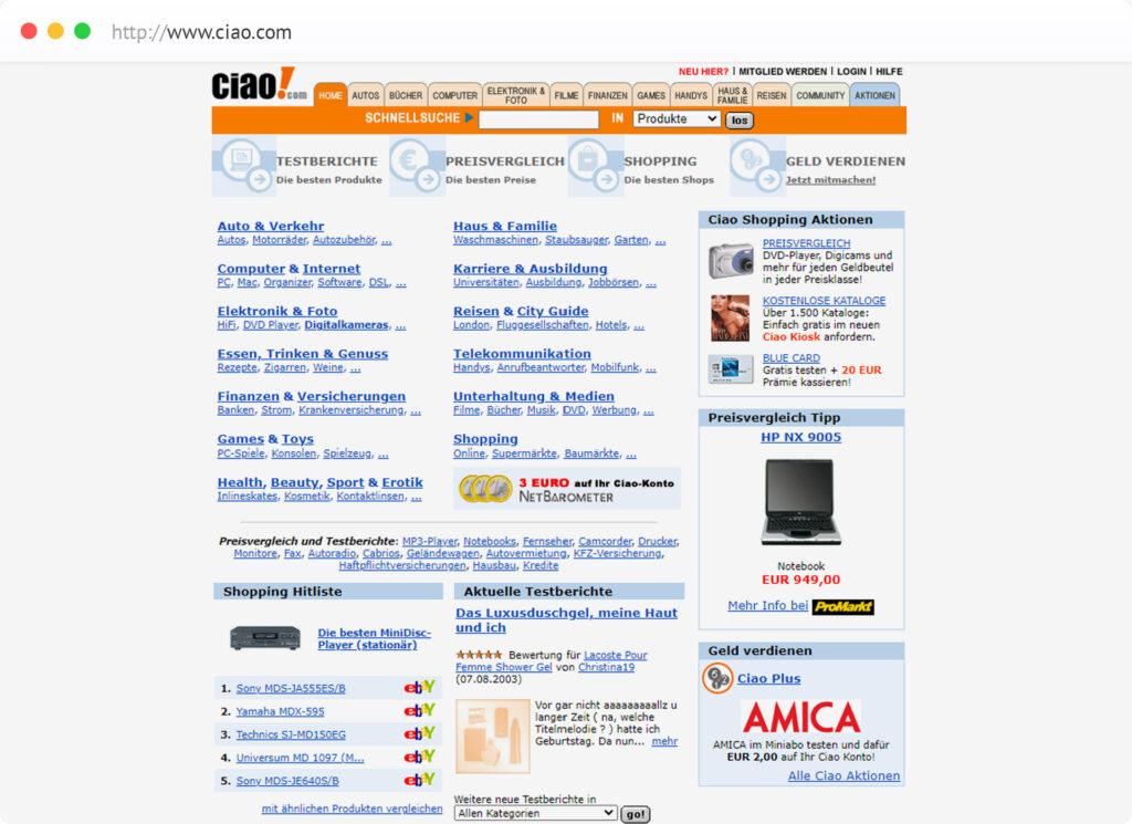 Ciao.com: Eines der ersten Bewertungsportale im Internet